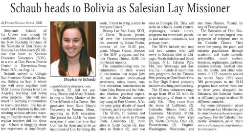 Stephanie Schaub in Catholic Times